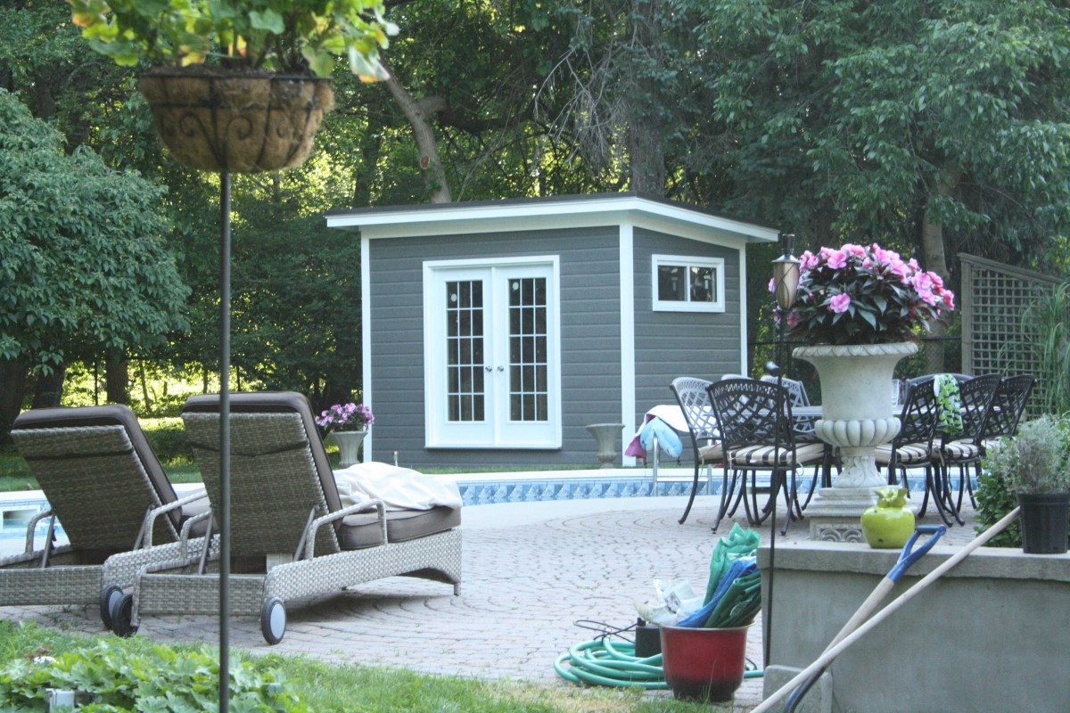Cedar Urban studio pool house design 8x12 with double French doors outdoor seen from the front. ID number 2733-113