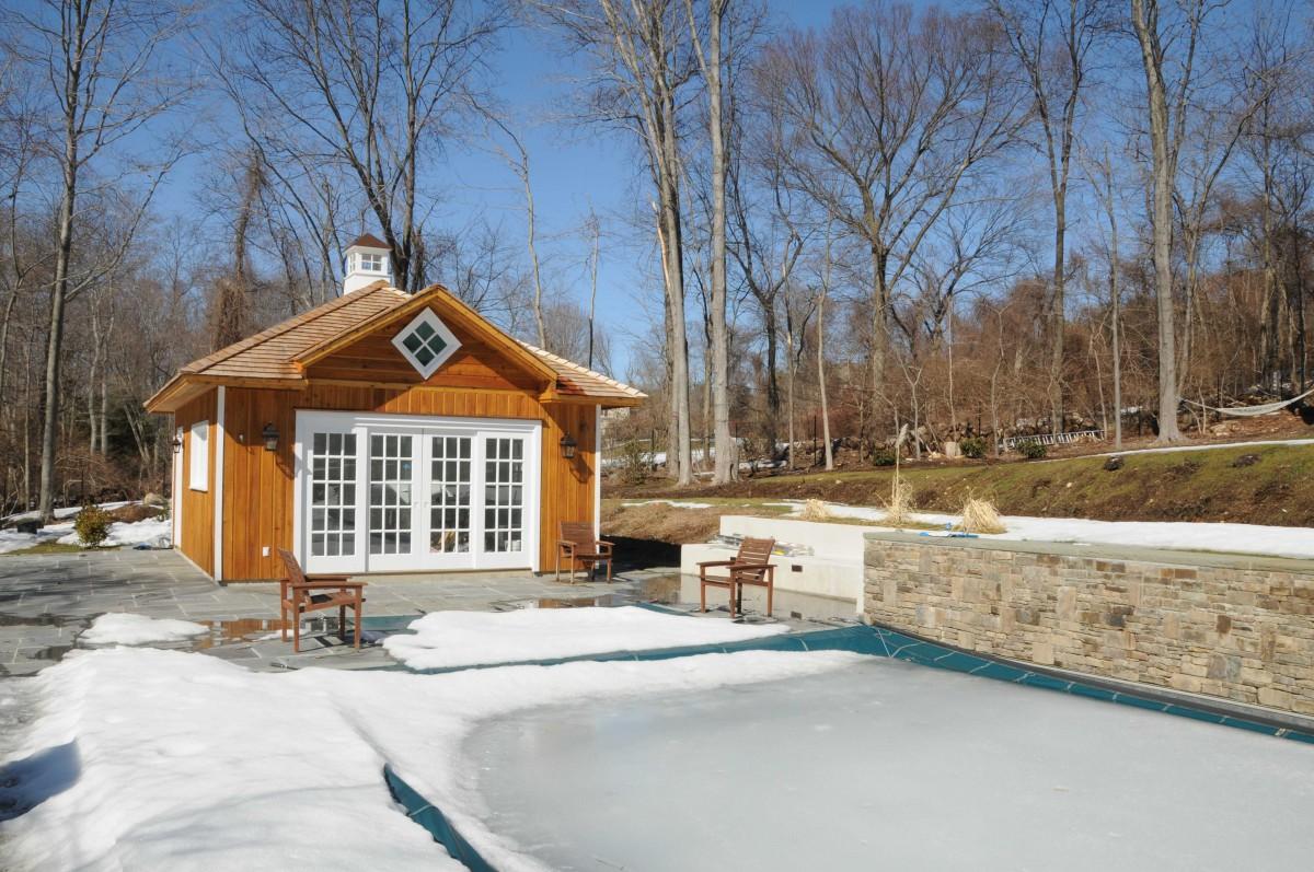 sonoma luxurious pool cabana design in a backyard