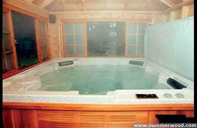 Sojo hot tub enclosure plan 8  x  12 in backyard with opening windows seen from inside.ID number 3345-5.