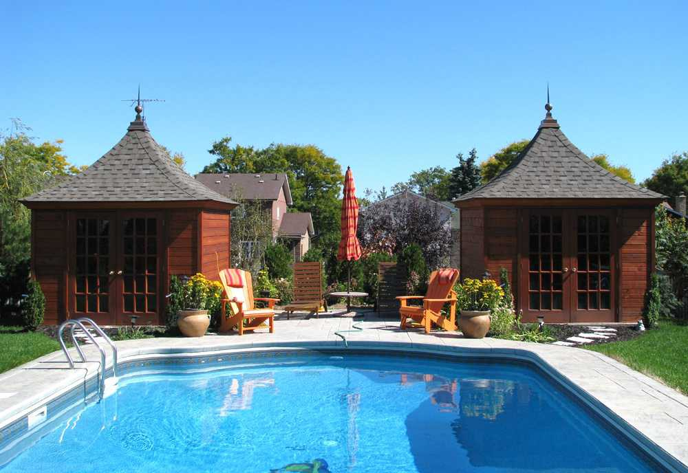 Melbourne pool cabana design 10 x 10 with a melbourne finial by a poolside seen from the front far. ID number 3087-2.