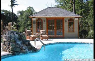 Sonoma pool cabana design 5 x 10 with pane arched windows by a poolside seen from the frontage. ID number 3300-3.