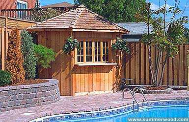 Catalina pool house plan 8 ft with a deluxe single door by a pool seen from the left.  ID number 3296-1.
