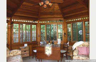 Cedar San Cristobal gazebo plan 14ft in the outdoor as seen from the front interior. ID number 2779-209.