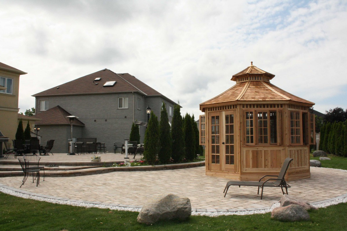 San cristobal gazebo design 12' beside pool with cedar shingles seen from front.ID number 3049-1.