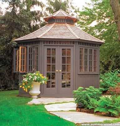 Backyard cedar San Cristobel pool cabana design 12x16 with double doors as seen from the front. ID number 3047-106.