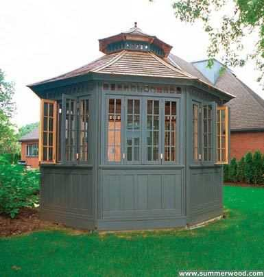 Cedar San Cristobel pool cabana design 12x16 with double doors in a backyard seen from the rear. ID number 3047-107.
