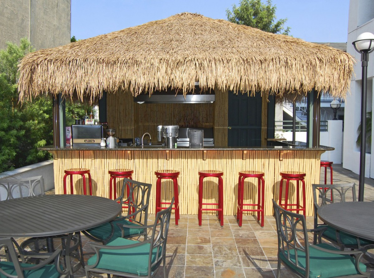 Surfside pool house plans 14x20 with deluxe single door at the bar seen front. ID number 5631-1