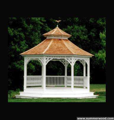 Victorian gazebo plan 14' in outdoor with omit railings seen from front.ID number 2932-1.