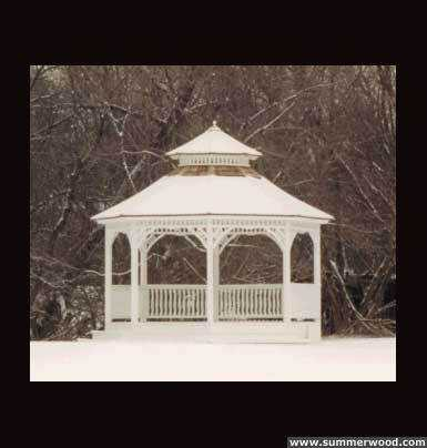 Victorian gazebo plan 14' in outdoor with omit railings seen from front.ID number 2932-2.