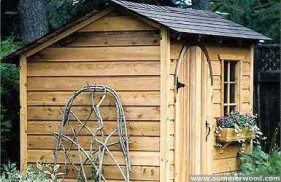 Bar harbor shed design 8 x 10 in a backyard with a standard window seen from the left. ID number 1495