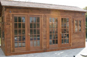Cedar Bar Harbor spa enclosure plan 8x18 with French double doors in the yard seen from the right side. ID number 1537.
