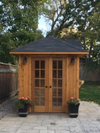 sonoma pool house design 7x14 in a backyard with french double doors