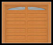 GD209 - Raised Panel Mahagony Garage Door with Sunburst Windows