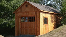 Highland garage plan 12x22 with deluxe 9- Lite single door seen from the right. ID number 5650-1