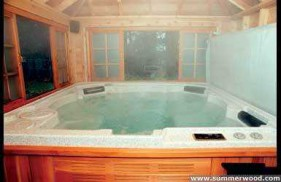 Sojo hot tub enclosure plan 8  x  12 in backyard with opening windows seen from front.ID number 3345-1.