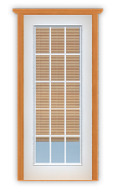 """Metal French 15-Lite Single Door with Blinds (Polytex Coating, 34""""W)"""