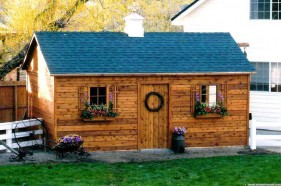 Cedar palmerston workshop design 12x20 with standard single door in the backyard. ID number 2509-204.