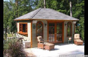 Sonoma pool cabana design 5 x 10 with pane arched windows by a poolside seen from the front. ID number 3300-2.