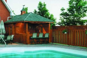 Surfside pool house plans 10x20 with deluxe single door seen from the front1. ID number 3498