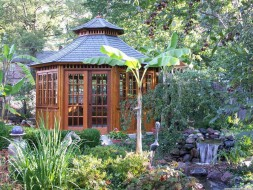 Cedar San Cristobal hot tub gazebo plan 14ft in in the outdoor seen from the front. ID number 2779-210.