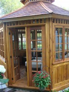 San cristobal hot tub gazebo plan 12' in driveway with cedar shingles seen from left.ID number 3091-7.