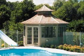 San cristobal gazebo design 14 ft with cupola beside a pool. ID number 2697.