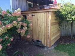 sarawak garden shed plan 6'x10' in a backyard seen from the front 1. ID number 5698-1.
