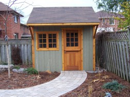 Glen echo shed plan 8 x 10 with beautiful surroundings in a backyard seen from the left side. ID number 3006-2.