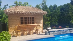 Sonoma pool cabana idea 7x12 with rough cedar channel siding seen from the front2. ID number