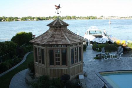 San cristobal gazebo design 11' beside a lake with stained finish seen from top. ID number 2965-1.