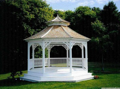 Victorian gazebo plan 14' in outdoor with omit railings seen from front.ID number 2932-3.