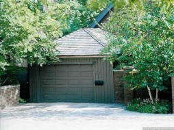 Archer garage plan 12  x  20 in driveway with garage doors seen from front.ID number 3349-1.