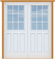 """Metal Deluxe 18-Lite Double Doors (Polytex Coating, 68""""W)"""