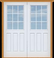 "Metal Deluxe 9-Lite Single Door (White Polytex Coating, 36""W)"