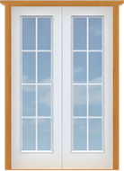 "Metal French 15-Lite Single Door (Polytex Coating, 28""W)"