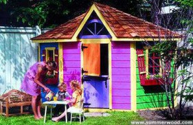 Cedar petite pentagon playhouse design 8ft with flower box in the outdoor. ID number 2805-207.