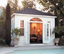 Sonoma pool cabana design 10 x 12 with French double doors in a backyard seen from the left. ID number 3302-4.
