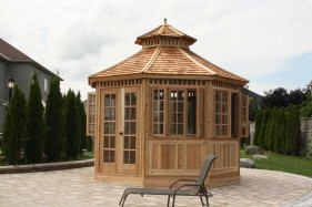 San cristobal gazebo design 12' beside pool with cedar shingles seen from front.ID number 3049-2.