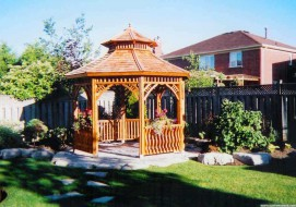 Victorian gazebo design 10' in a garden with omit floor  seen from left.ID number 3437-2.