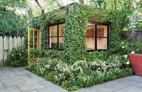 This great backyard studio plan factored in the growth of beautiful vines on all of the exterior walls.